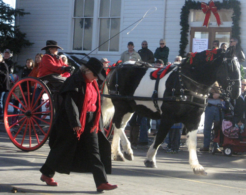 The Parker Country Christmas Carriage Parade in front of Ruth Chapel