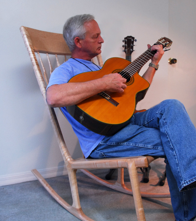 guitar playing chair cardboard design rubric parker converse custom rocking chairs