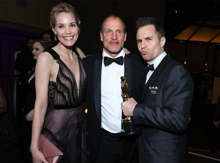 Sam Rockwell, Leslie Bibb, Woody Harrelson, 2018 Oscar Party Pics