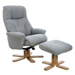 Trento Swivel Recliner Fabric Chair And Footstool Silver