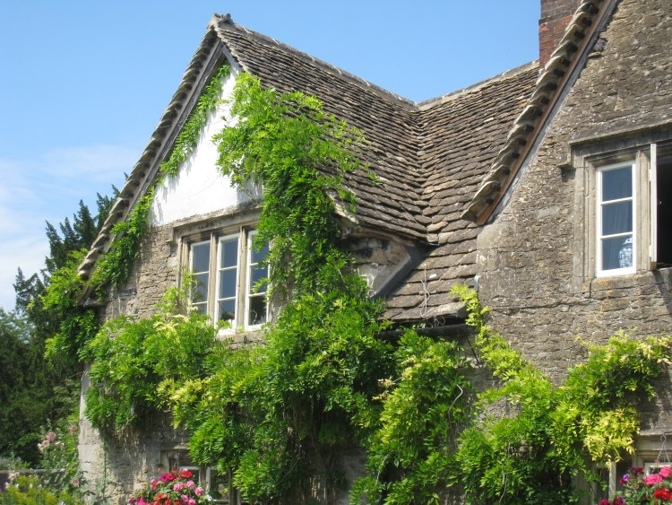 Ivy covered stone cottage