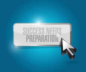 words success meets preparation on blue background