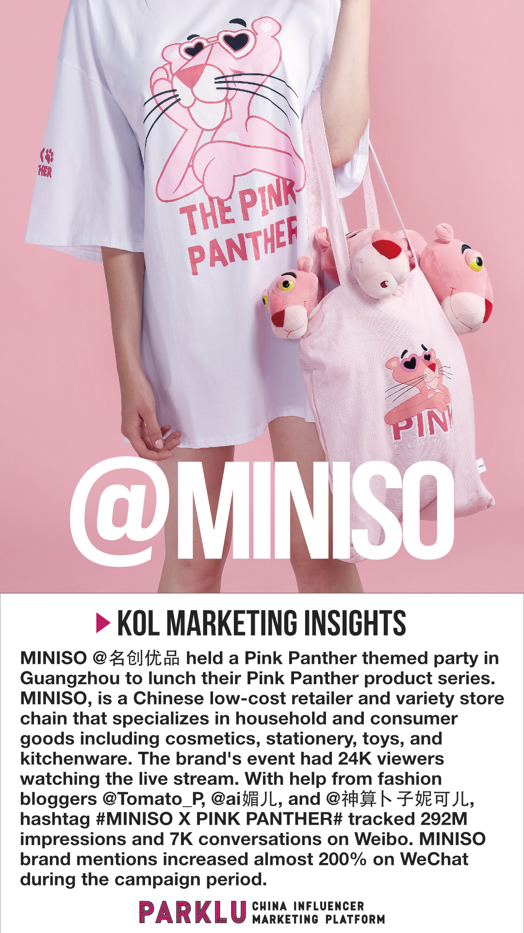 MINISO Employs KOLs to Launch Pink Panther Products  PARKLU