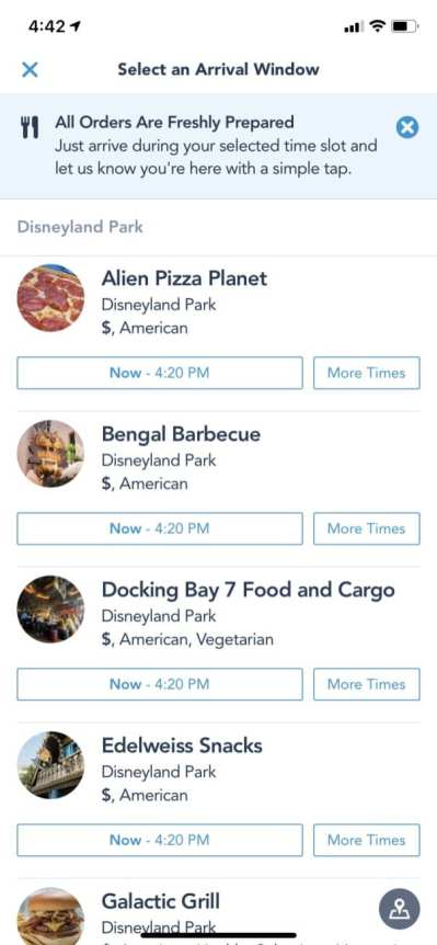 Disneyland Mobile Order Arrival Window