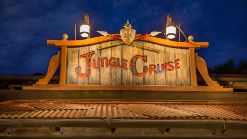 Jungle Cruise signage at night