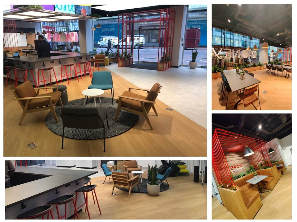 reception area, meeting area, collaborative area, customer lounge, booth, armchairs, meeting tables, coffee tables, armchairs chairs,