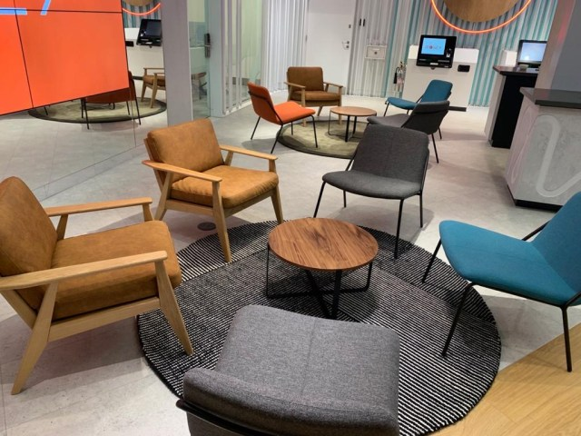 visitor chair, armchairs, coffee table, collaborative space, open plan