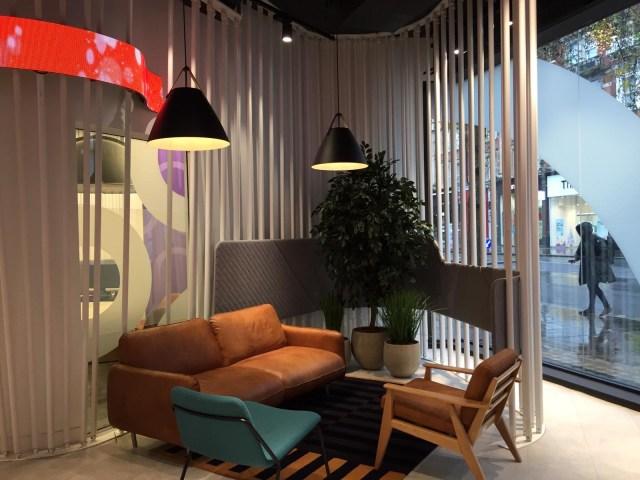 Sofa, armchairs, plants, biopholia, meeting space, reception area