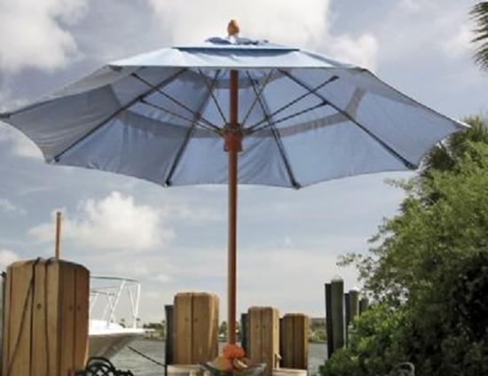 8 ft octagonal market umbrella bridgewater style fiberteak pole marine grade fabric