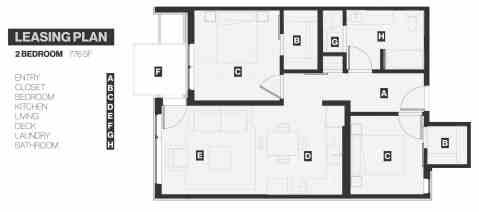2 Bed / 1 Bath / 776 sq ft
