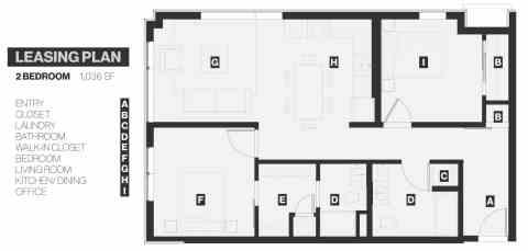 2 Bed / 2 Bath / 1,036 sq ft