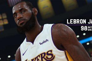 L'avatar de LeBron James, sous le maillot des Lakers, dans NBA 2K19.