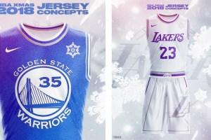 Les maillots des Warriors et des Lakers pour le Christmas Day, imaginés par un fan.