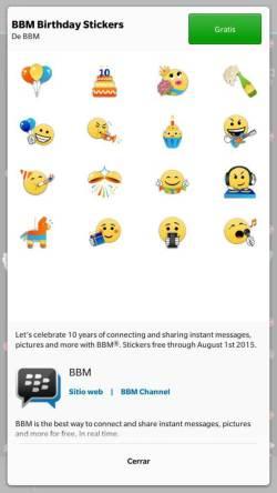 BBM Birthday Stickers Free - Screenshot con un BlackBerry Z30