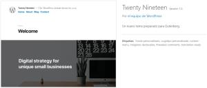 Snapshot de Tema WordPress Twenty Nineteen