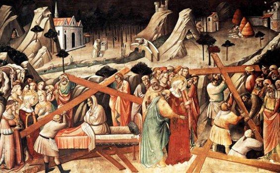 Pelukis Italia Agnolo Gaddi (1350-1396) melukiskan dengan dramatis dua adegan sekaligus, yaitu penggalian dan penentuan salib Yesus yang asli dalam satu kanvas. Santa Helena dengan tanda lingkaran kudus atau halo memimpin seluruh proses ini.