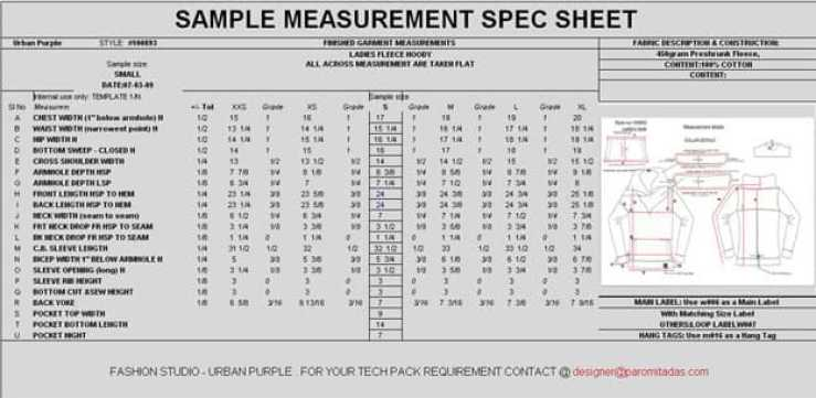 Garment Measurement Specification Sheet - Clothing Designer