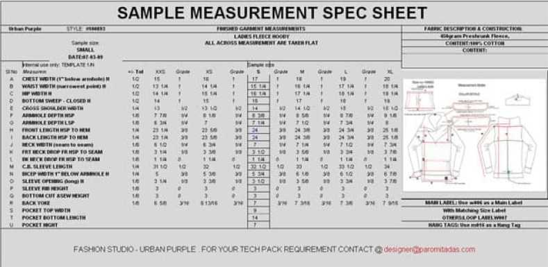 Specification Sheet and Tech Pack