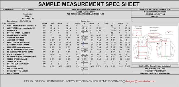 Garment Measurement Specification Sheet Clothing Designer