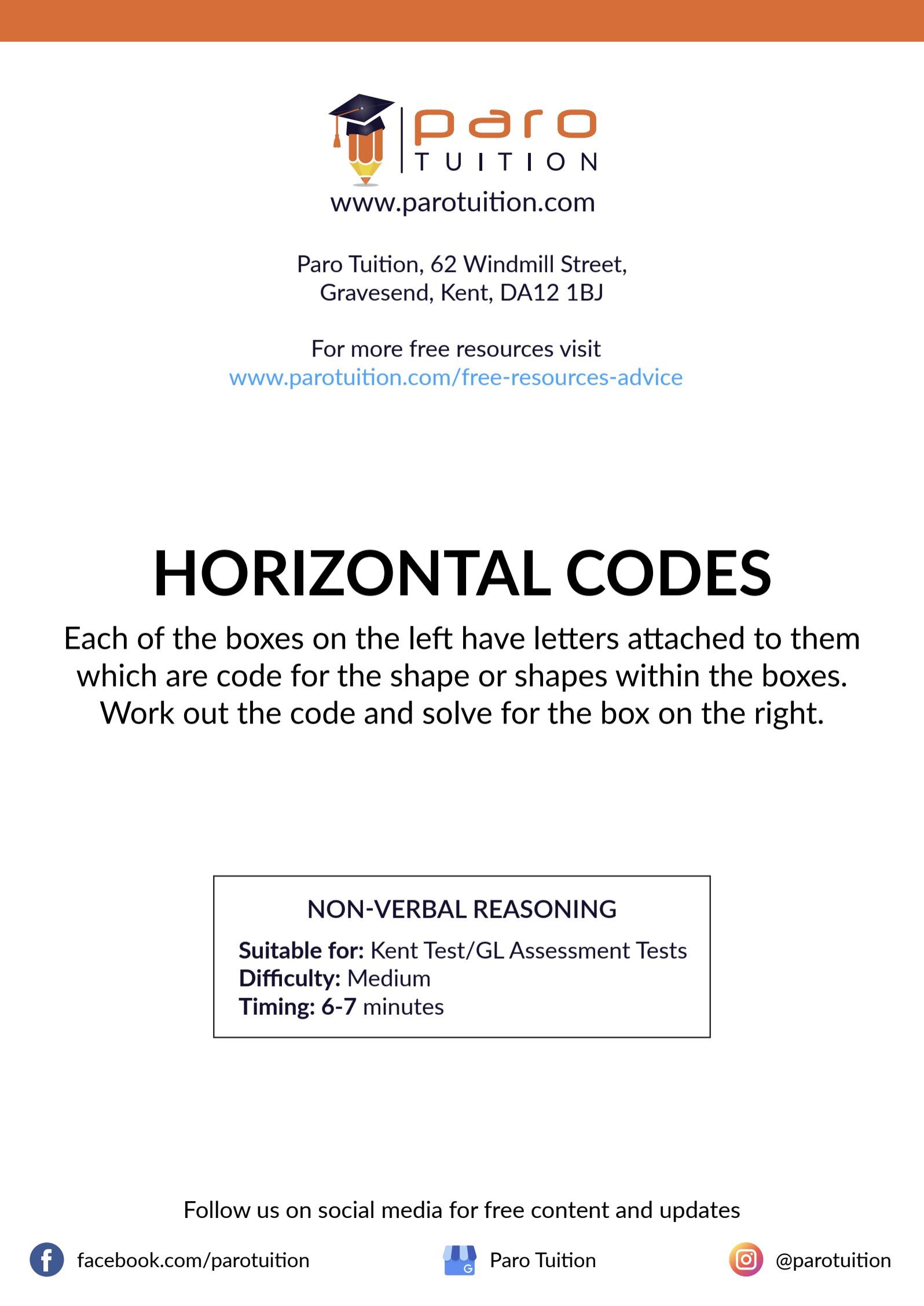 Free Kent 11 Non Verbal Reasoning Worksheets