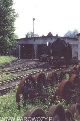 Parowozy Ty2 w Lokomotywowni Chabówka, na pierwszym planie Ty2-166. 12.VII.1987. Fot. Roelof Hamoen.