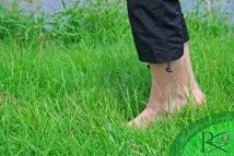 Barefoot Woman Walking Nature