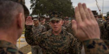 U.S. Marine Corps Chief Warrant Officer Matthew Kessinger, personnel officer of 6th Marine Corps District recites the oath of office during his promotion to chief warrant officer five aboard MCRD Parris Island. (U.S. Marine Corps photo by Lance Cpl. Jack A. E. Rigsby)