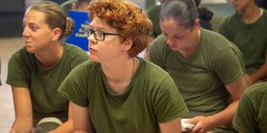 Recruits with Recruit Separation Platoon, Special Training Company, Support Batallion attend a guided discussion on July 29, 2019 aboard Marine Corps Recruit Depot Parris Island. (U.S. Marine Corps photo by Cpl Daniel O'Sullivan)