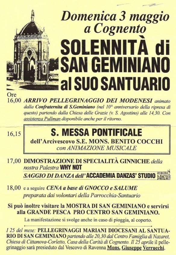 Locandina S. Geminiano al suo Santuario 2009