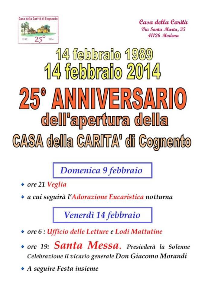 Casa della Carità di Cognento - Programma 25° anniversario