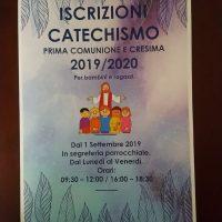 ISCRIZIONI AL CATECHISMO COMUNIONI E CRESIME 2019-2020