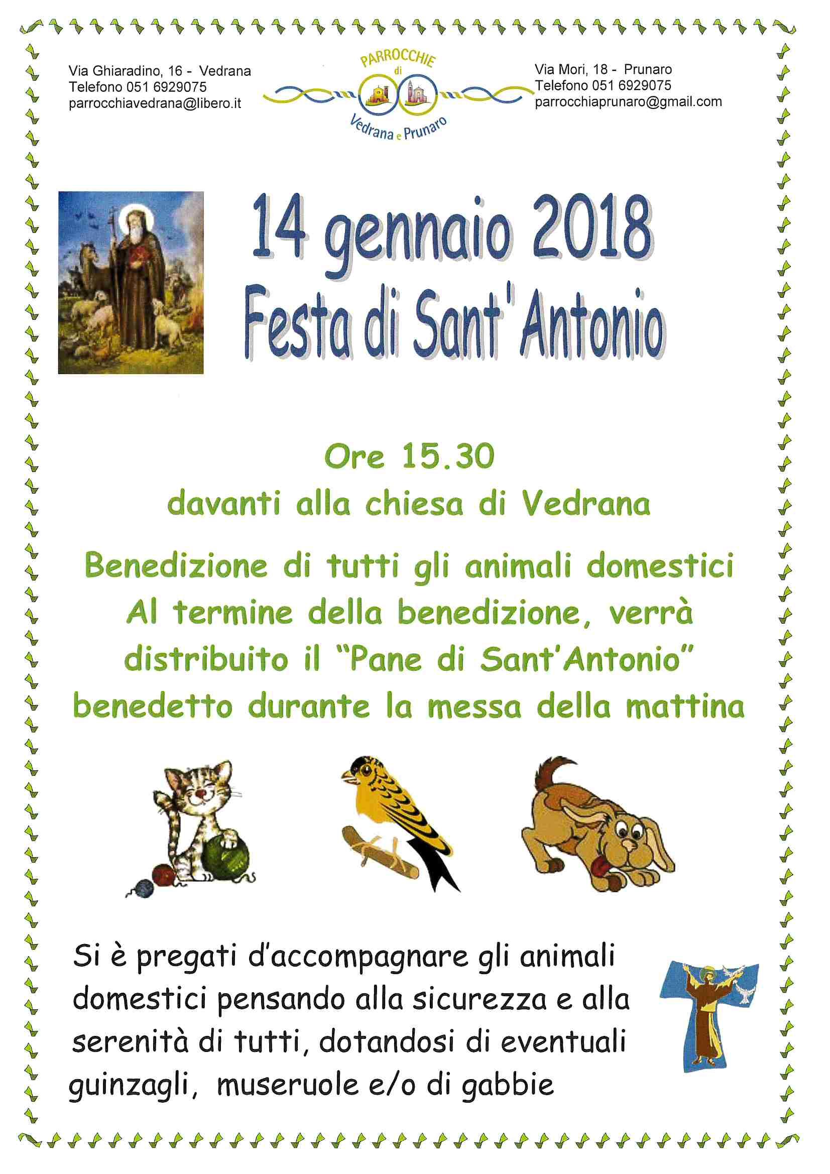 Benedizione di Sant'Antonio – domenica 14 gennaio 2018 ore 15,30 a Vedrana
