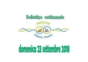 Read more about the article Bollettino Vedrana – Prunaro 23 settembre 2018