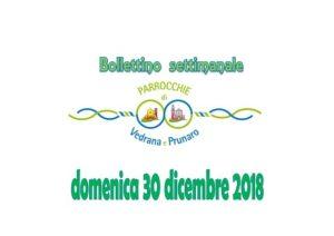 Bollettino Vedrana, Cento e Prunaro 30 dicembre 2018