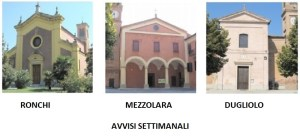 Appuntamenti per le comunità parrocchiali di Mezzolara, Dugliolo, Ronchi
