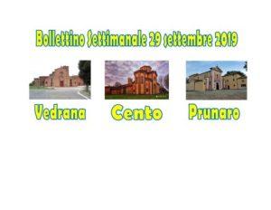 Bollettino Vedrana Cento Prunaro 29 settembre 2019