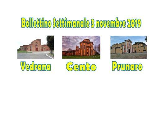 Bollettino Vedrana Cento Prunaro 3 novembre 2019