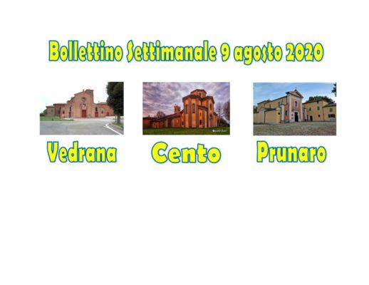 Bollettino Vedrana Cento Prunaro 9 agosto 2020