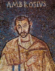 Imagen más antigua de San Ambrosio de Milán (un mosaico del Siglo V).