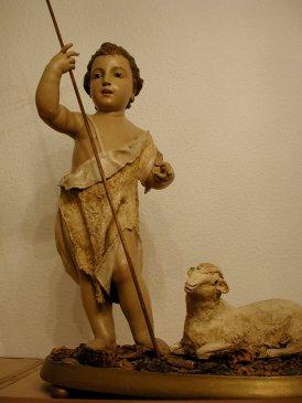 """Bella imagen sagrada de """"San Juan Bautista Niño"""". Iglesia parroquial de San Nicolás de Murcia. (Pulsando en la imagen se puede ver ampliada)."""