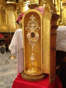 """""""Relicario de San Nicolás"""" (contiene un fragmento de hueso del cuerpo del Santo Obispo). Iglesia parroquial de San Nicolás de Murcia."""