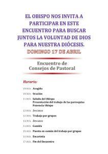 Encuentro.Consejos de pastoral.(17-4-2016).2.Horario