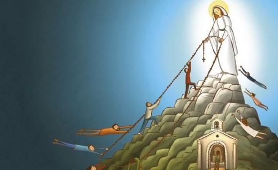 La Virgen María llevando a las almas al cielo
