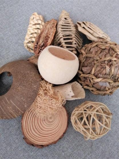 variety of natural foot toys
