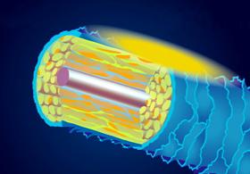 モルビドスチームの水分子が毛髪内部に浸透する図