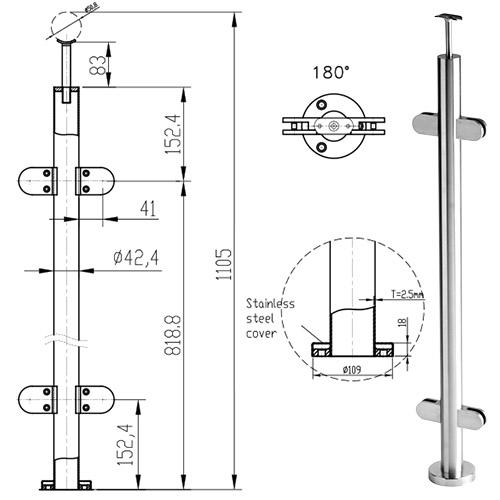 stainless steel centre balustrade post