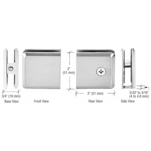Polished Chrome Beveled Hole-in-Glass Style Wall Mount Heavy-Duty