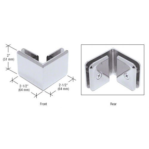 Polished Chrome Beveled Style 90 degrees Glass-to-Glass Clamp