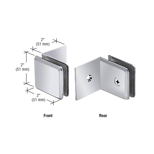 Polished Chrome Fixed Panel Beveled Clamp