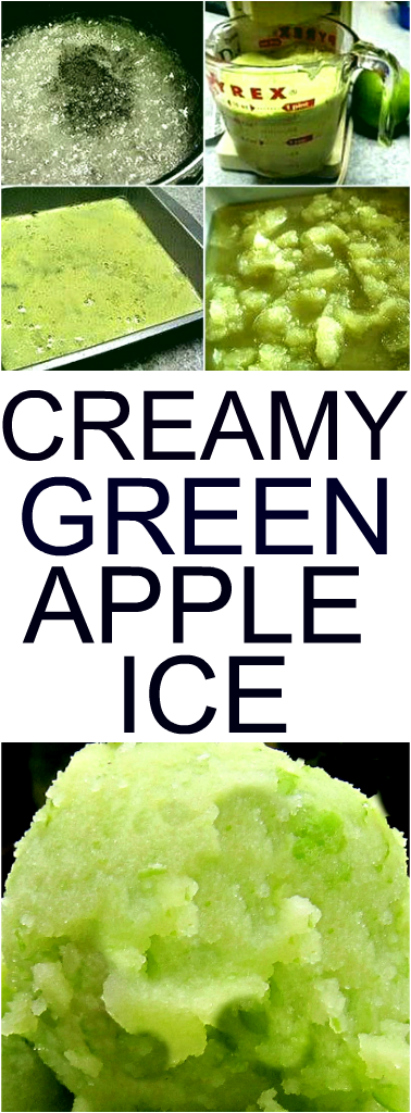 Fresh Green Apple Ice using whole green apples and optional coconut milk/cream for the creamy factor. Forget sorbet or ice cream, this stuff is the nectar of the gods Fat Free, Dairy Free, and Low Sugar. NO Food Color, all natural. #greenapple #greenappleice #coconutmilk #coconutcream #lowsugar #dairyfree #fatfree #allnatural